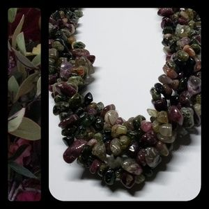 Multi Tourmaline Chip Necklace with SS Clasp